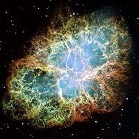 The Crab Nebula as seen through the Hubble Telescope