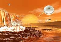 Piirros luotaimen laskeutumisesta Titan-kuuhun