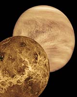 Earth's inner neighbour, Venus, displayed in to different views obtained in the visible wavelengths of the electromagnetic spectrum (right) by Pioneer Venus in 1978, and the surface of the atmosphere-shrouded planet